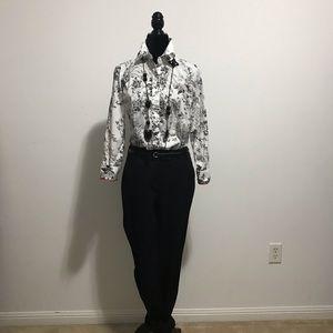 Foxcroft wildlife black and white patterned shirt